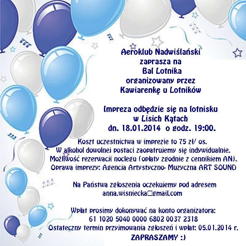 Zaproszenie na Bal Lotnika